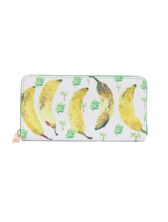 Mulit Color Banana Print Vinyl Clutch Wallet Bag Accessory