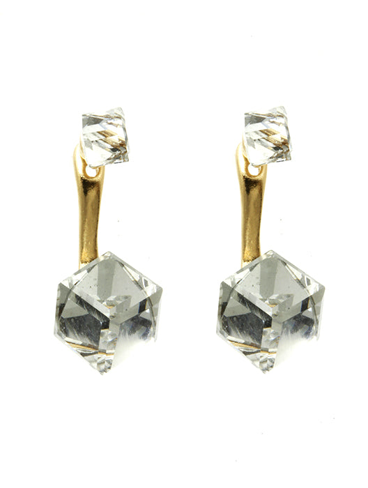 Clear Cubic Crystal Double Side Earring