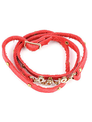 Red Metal Letters Faux Leather Wraparound Bracelet Image#2
