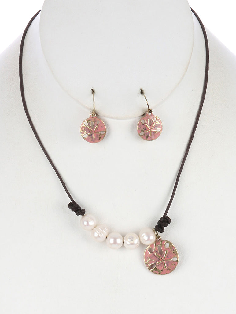 Peach Metal Starfish Coin Charm Pearl Bib Necklace And Earring Set