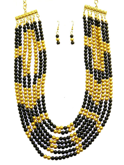 Black Multi Strand Bib Necklace And Earring Set