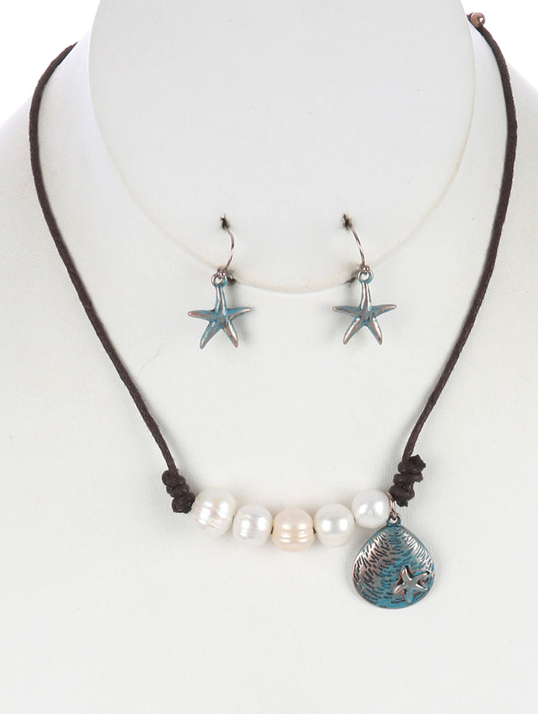 Turquoise Metal Seashell Charm Pearl Bib Necklace And Earring Set