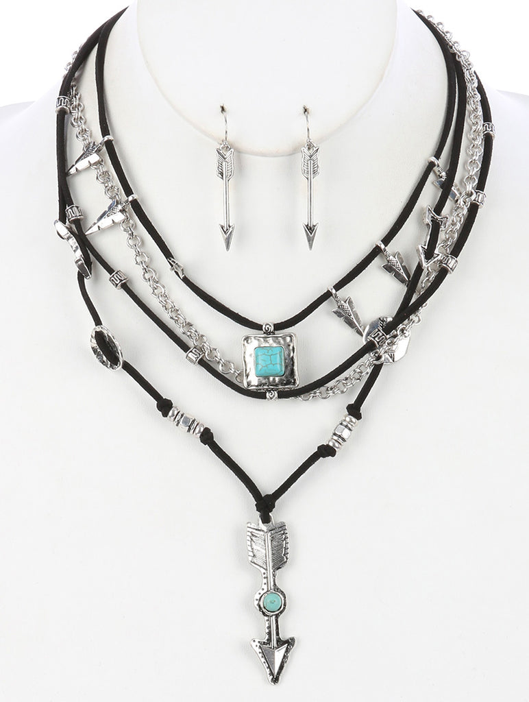 Turquoise Metal Arrow Pendant Multi Layer Necklace And Earring Set