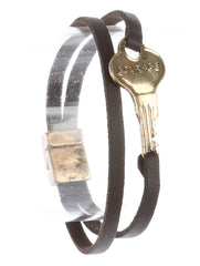 Brown Aged Finish Metal Message Key Bracelet