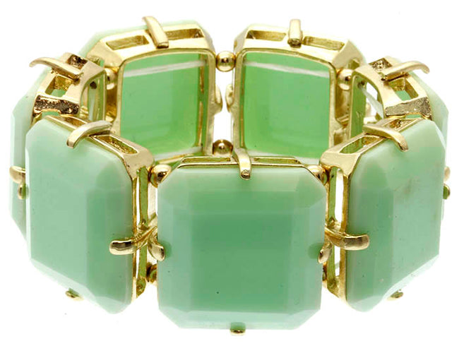 Mint Green Faceted Homaica Stone Stretch Bracelet