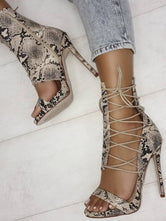 Sexy Snakeskin Print Lace-up High Heels