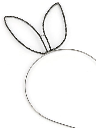 Black Bunny Ears Metal Headband Hair Accessory Image#2