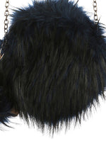 Navy Blue Faux Fur Round Crossbody Fashion Bag Accessory - EKB19630NVY