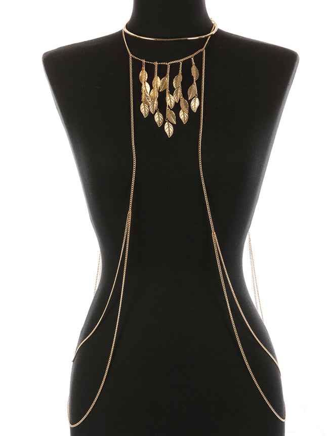 Gold Metal Leaf Fringe Necklace And Body Chain