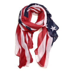 Sheer Free End American Flag Colors Scarf
