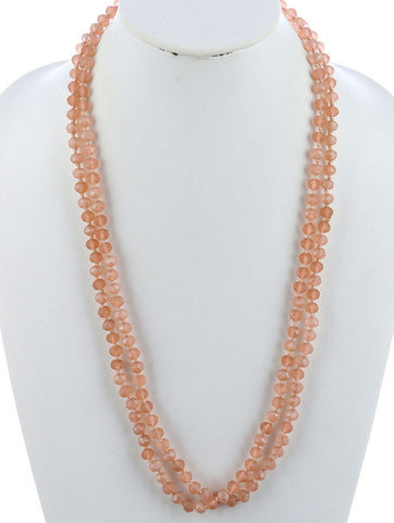 Peach Natural Stone Finish Extra Long Bead Necklace