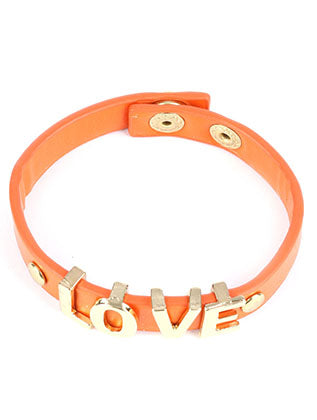 Orange Metal Letter Charm Faux Leather Band Bracelet Image#2