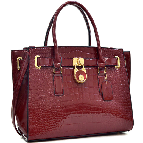 Dasein® Croco Embossed Belted Medium Tote Bag