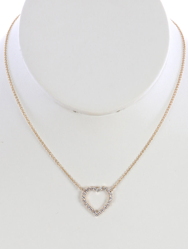Clear Heart Shape Rhinestone Chain Necklace