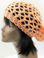 Orange Crocheted Beret Hat And Cap Image#2