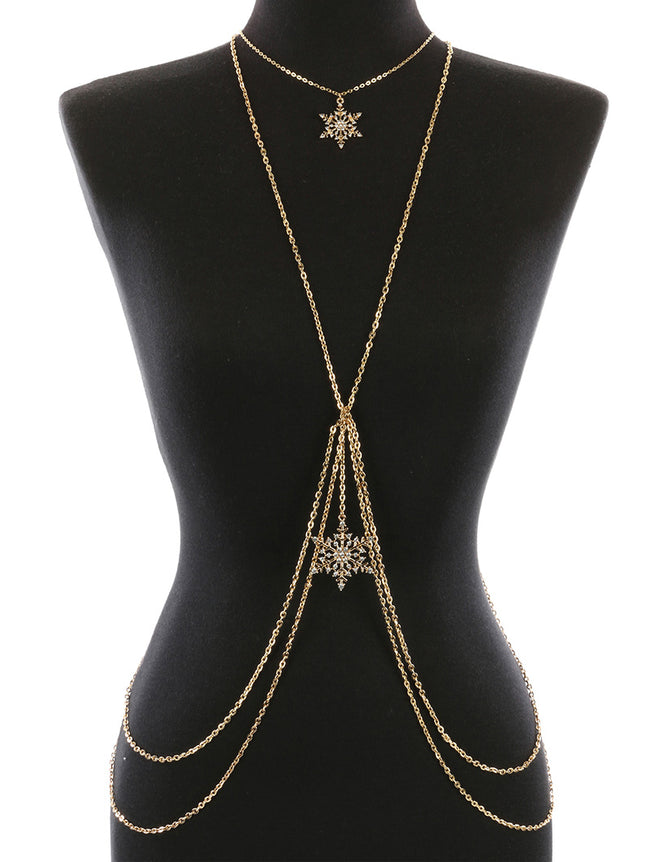 Clear Pave Crystal Stone Metal Snowflake Charm Body Chain