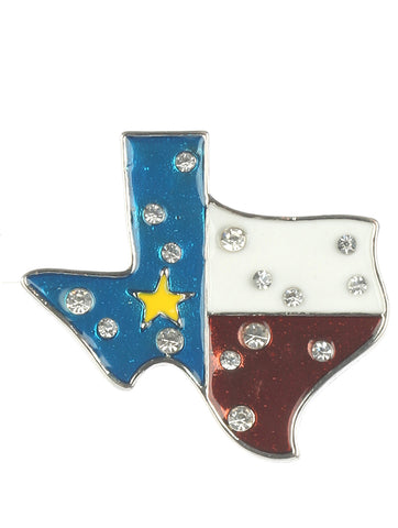 Mulit Color Epoxy Coated Metal State Of Texas Pin And Brooch