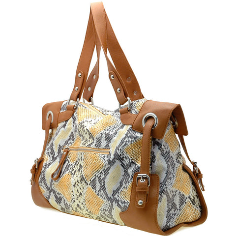 Two-Tone Faux Python Leather Handbag with Zip Front Pocket