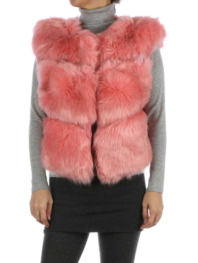 Pink Russian Style Ribbed Soft Fur Vest