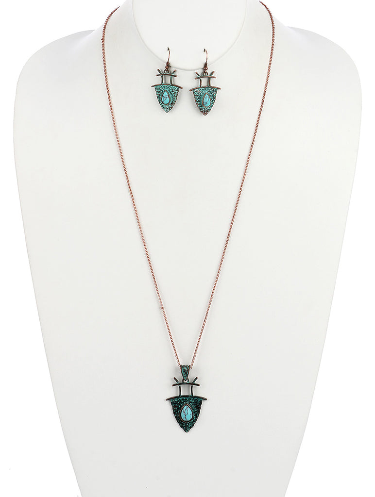 Turquoise Aged Finish Metal Triangular Banner Pendant Necklace And Earring Set