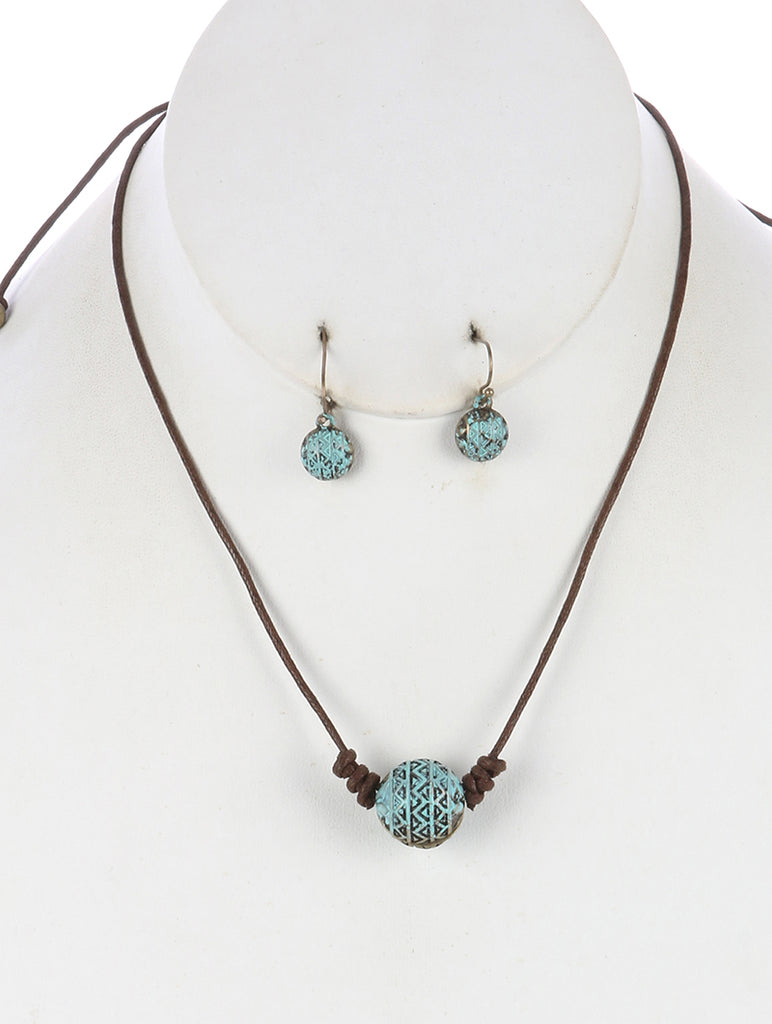 Mint Green Aged Finish Metal Ball Adjustable Cord Necklace And Earring Set