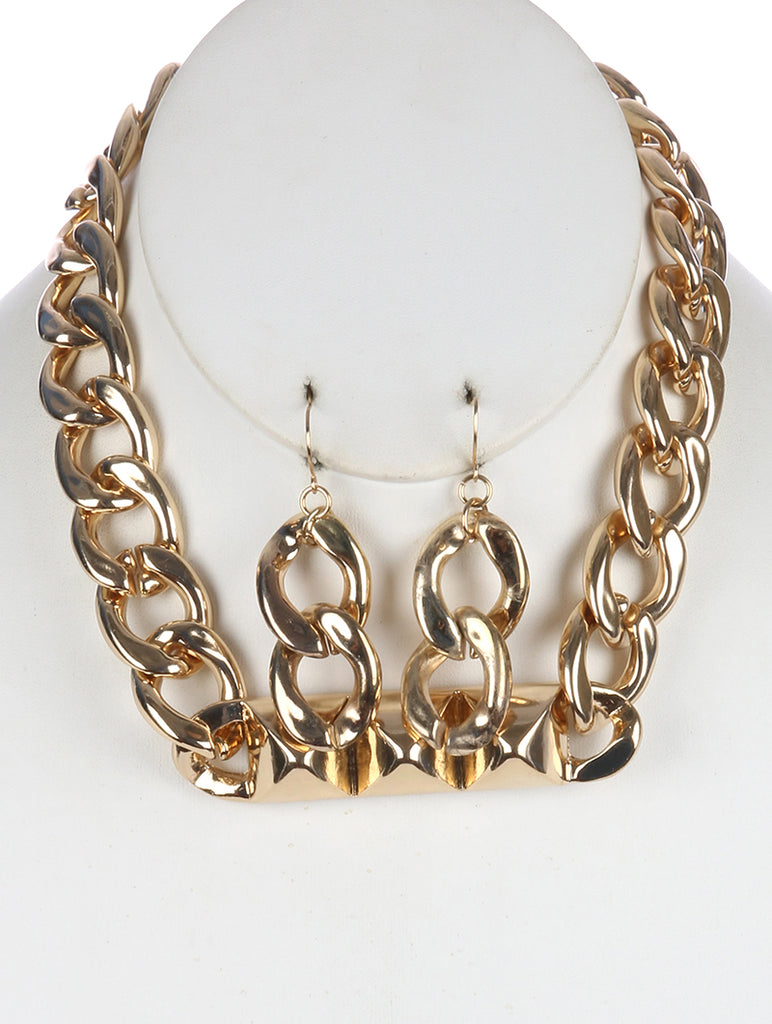 Gold Hollow Metal Spike Chunky Bib Necklace And Earring Set