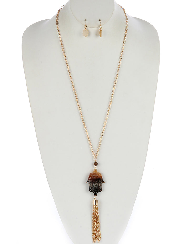 Brown Turtoise Lucite Stone Chain Tassel Necklace And Earring Set