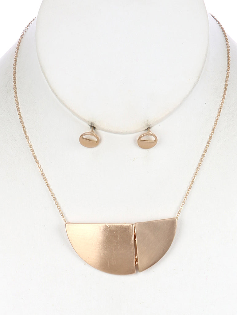 Gold Matte Finish Metal Segmented Semi Circle Pendant Necklace And Earring Set