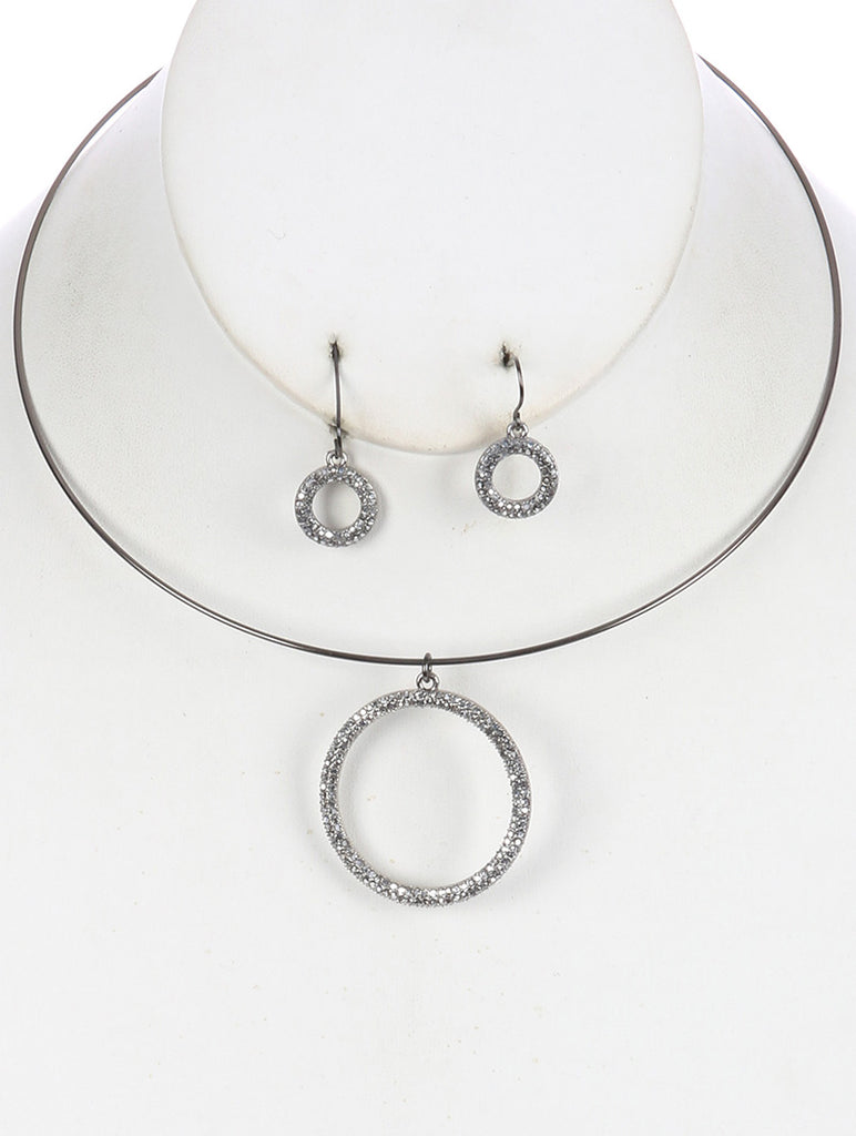 Sliver Metal Ring Pendant Wire Choker Necklace And Earring Set