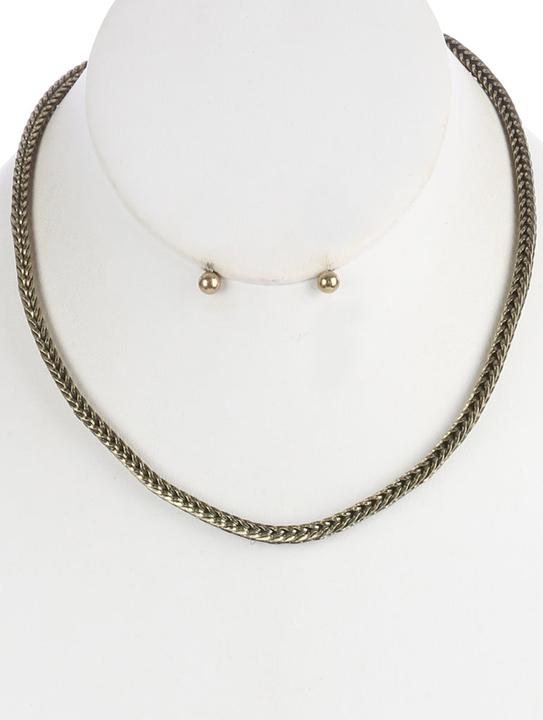 Gold Aged Finish Metal Wheat Chain Necklace And Earring Set