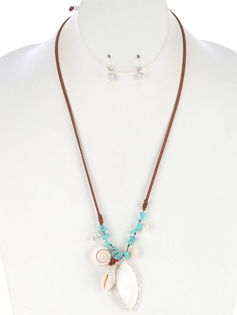 Turquoise Sealife Charm Faux Suede Adjustable Necklace And Earring Set