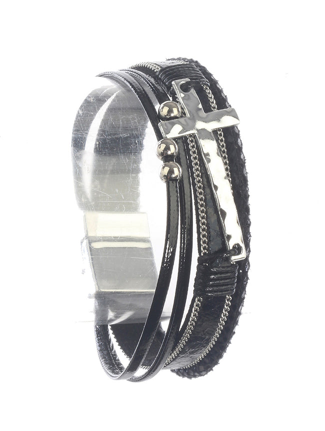 Black Leather Metal Casting Fashion Bracelet - PTB115470RDBLK