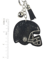Black Stuffed Pillow Football Helmet Fashion Key Chain - MMK31370RDBLK