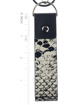Black and White Animal Print Snake Sking Fashion Key Chain - BUK99116RDBKW