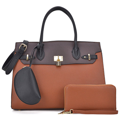 Dasein Classic Chic Block Color Shoulder Bag - Black/Coffee
