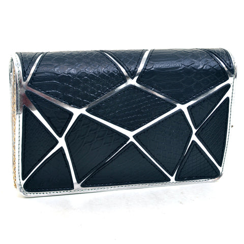 Croco Patch Chrome Clutch