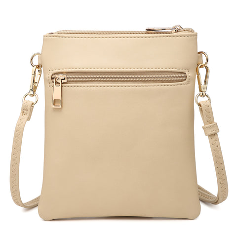Dasein Soft Faux Leather Tri-zipped Messenger Bag/ Crossbody