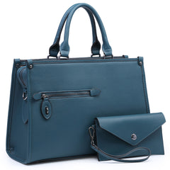 Dasein Faux Leather Briefcase Satchel with a Front zipped Pocket and with Matching Accessory Pouch