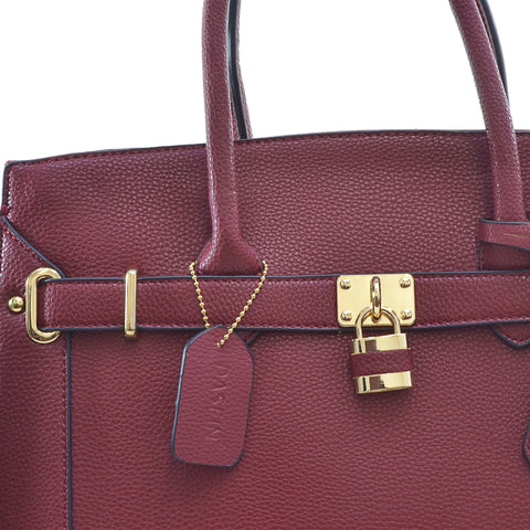 Dasein® Faux Leather Padlock & Key Satchel with Shoulder Strap