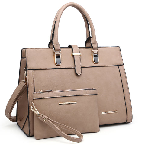 Dasein Faux Leather Satchel with flap-over belted strap and with Matching Wristlet