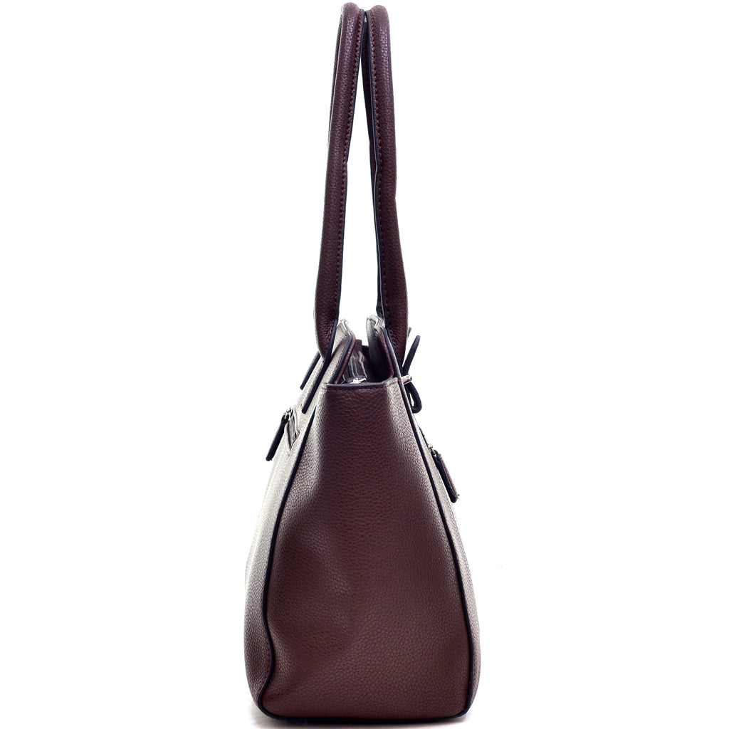 Dasein® Faux Leather Shoulder Bag with Front Zipper Pocket