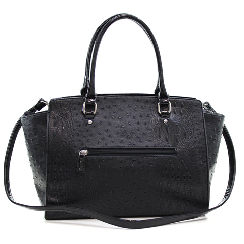Dasein® Faux Ostrich Leather Winged Satchel with Patent Trim