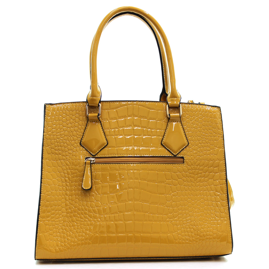 Dasein® Patent Faux Leather Croco Embossed Satchel with Lock