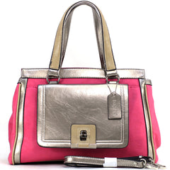Dasein Two-Tone Metallic Satchel Bag with Front Twist Lock