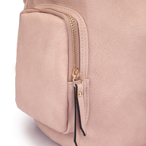 Faux Leather Drawstring Accent Backpack with Side Pockets