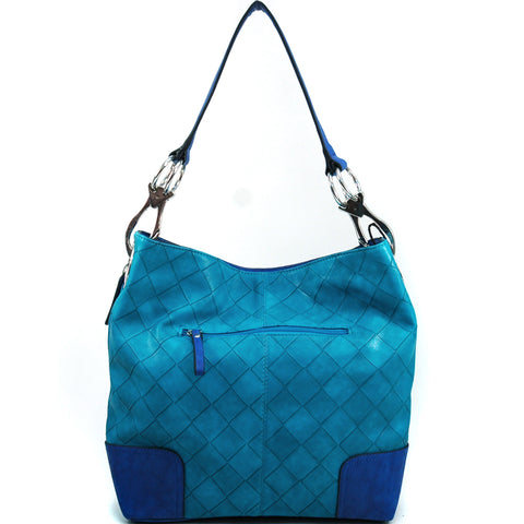 Faux Leather Woven Textured Hobo Bag