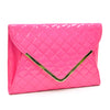 Image of Fold Over Quilted Patent Clutch with Removable Shoulder Strap