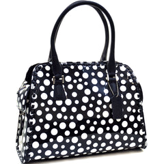 Glossy Polka Dot Woven Edge Satchel With Side Pockets