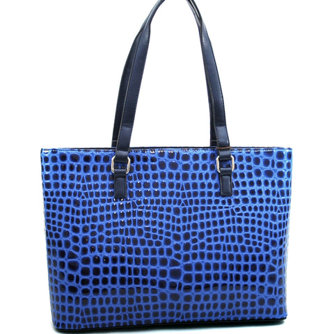 Large Patent Croco Chic Fashion Tote