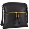Image of All-In-One Crossbody/ Messenger Bag with Front Decorative Tassel Zipper Pull